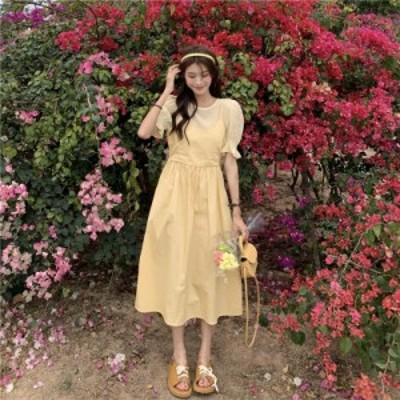 ワンピース ロング丈 ふんわり レイヤード風 ドッキング ガーリー フェミニン きれいめ カジュアル 韓国ファッション 大人可愛い