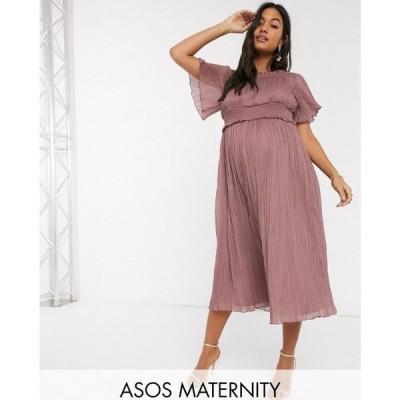エイソス ASOS DESIGN レディース ワンピース マタニティウェア ミドル丈 ワンピース・ドレス Maternity bardot shirred midi dress in heather