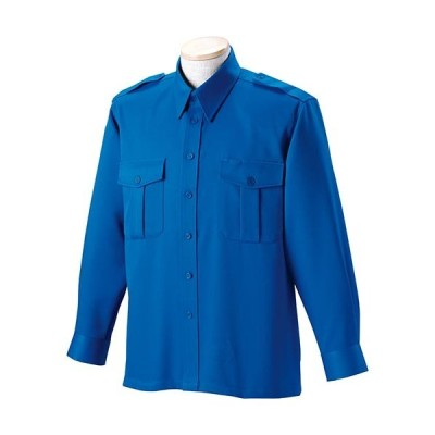 ジーベック(XEBEC) 警備 無地 長袖シャツ 40/ブルー 18201 作業服 作業着 ワークウエア ワークウェア メンズ レディース