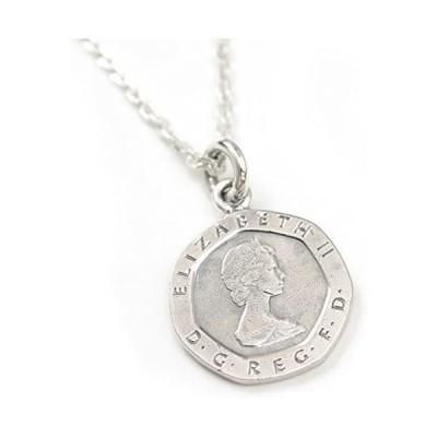 石輝 イギリス UK 20ペンス コイン ネックレス エリザベス女王 7角形 旧硬貨 [658svn]