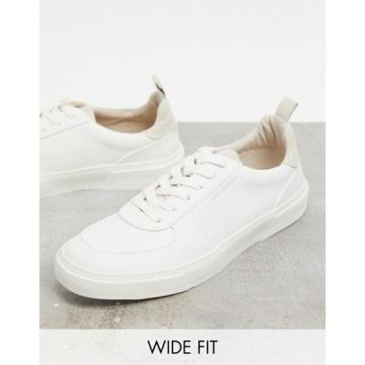 エイソス ASOS Unrvlld Supply メンズ スニーカー シューズ・靴 Wide Fit trainers in white with stone heel tab ベージュ