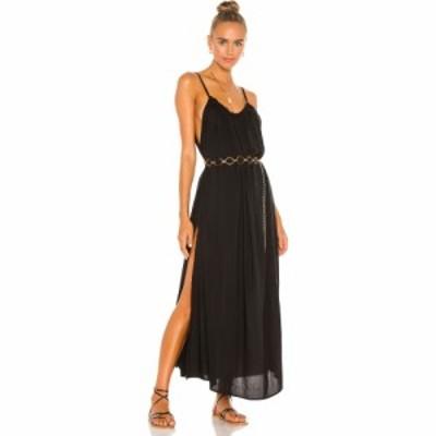 インダー Indah レディース ワンピース サンドレス マキシ丈 ワンピース・ドレス Yasmine Solid Gathered Neckline Sundress Maxi Black