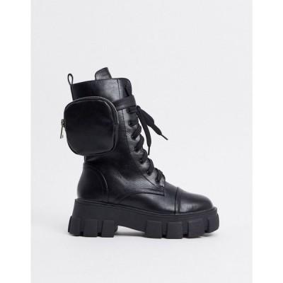 パブリックディザイア Public Desire レディース ブーツ チャンキーヒール シューズ・靴 Intention chunky calf boot with pouch in black ブラック