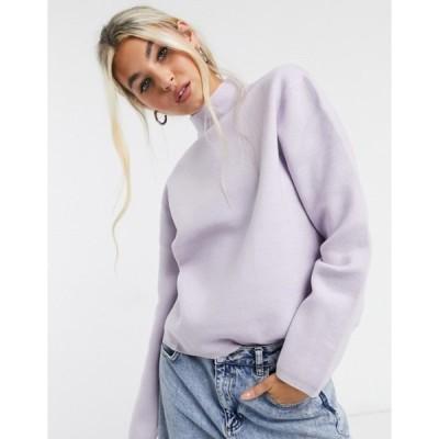 セレクティッド レディース ニット・セーター アウター Selected Femme sweater with high neck in lilac