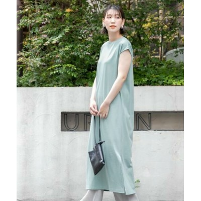 URBAN RESEARCH ROSSO/アーバンリサーチ ロッソ F by ROSSO 汗ジミ防止フレンチスリーブワンピース ICE BLUE FREE