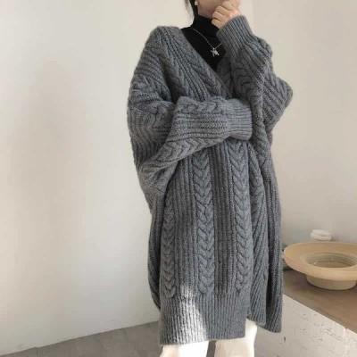レディース カーディガン ニット アウター ローゲージ 長袖 羽織コート ロング丈 トップス 秋冬 無地 ケーブル編み シンプル ゆったり