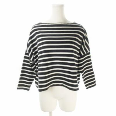 【中古】トラディショナルウェザーウェア カットソー バスクシャツ 七分袖 ショート丈 ボーダー S 黒 ブラック