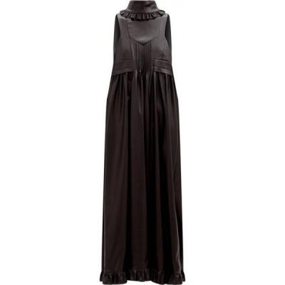 パコラバンヌ Paco Rabanne レディース ワンピース ワンピース・ドレス Ruffled faux-leather pinafore dress Black