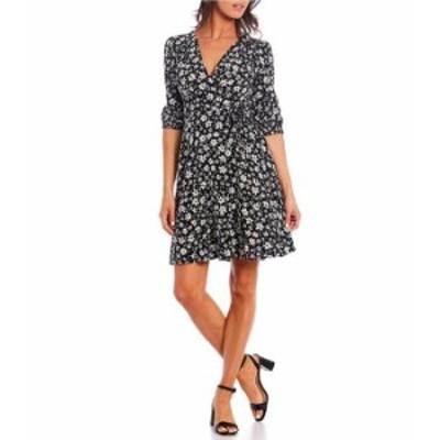 カルバンクライン レディース ワンピース トップス V-Neck Floral Faux Wrap Dress Black/Khaki Multi