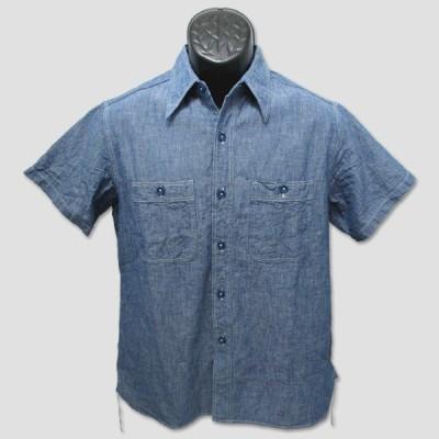 """バズリクソン BUZZ RICKSON'S 半袖シャンブレー・ワークシャツ """"BLUE CHAMBRAY S/S WORK SHIRT"""""""