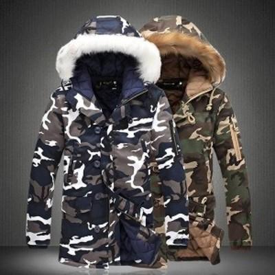 メンズ 中綿コート 迷彩柄 ミリタリージャケット アウター カジュアル フード付き 秋冬 新作