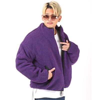 【ラグスタイル】 リバーシブルBIGボアZIPブルゾン/ジャケット メンズ スタンドジャケット ボア ビッグシルエット メンズ パープル XL LUXSTYLE