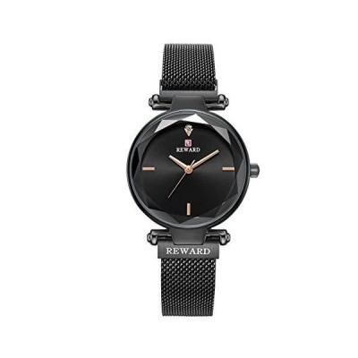 REWARD 日本製クォーツレディース腕時計 多面ガラス表面 シンプルでエレガント 女の子へのファッションギフト 防水 ステンレススチール ブラック