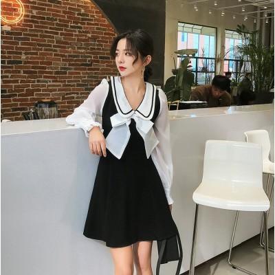 週末に着たい服 自社生産 韓国ファッション 2020年春 ファッション 長袖 上品映え ワンビース オシャレ 蝶結び 縫付 人形の襟 ミニスカート 旅行 ハイウエスト ジッパー学院風 スリム フリル