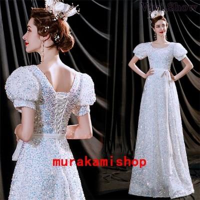パーティードレス結婚式ドレス袖ありロングドレスレディース演奏会大人上品お洒落2次会発表会ピアノ二次会ドレスパーティお呼ばれドレス