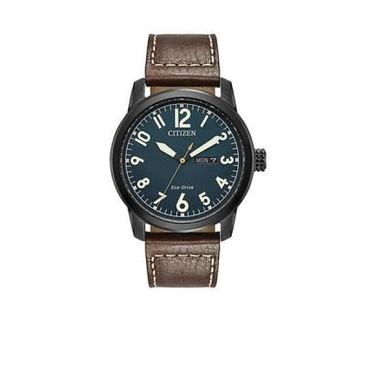シチズン メンズ 腕時計 アクセサリー Men's Citizen Eco-Drive Leather Strap Watch