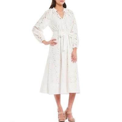 ギブソンアンドラチメール レディース ワンピース トップス Eyelet Embroidery Belted Midi Dress Off White