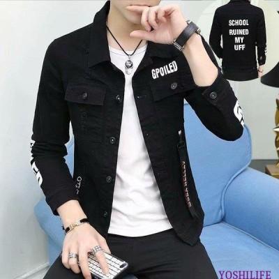 デニムジャケット メンズ Gジャン 折り襟 長袖 ボタン 英文字 ストラップ付き カジュアル スクール風 かっこいい アウター 韓国 モード