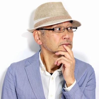 中折れハット メンズ シルク 日本製 BL型中折れハット ミラショーン リネン 中折れ帽子 紳士帽子 春夏 milaschon 裏地付き メッシュ 夏の帽子 ベージュ 父の日