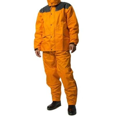 レインスーツ 上下 メンズ (耐水圧:20000mmH2O) (肩/股下 補強加工) (袖口調節機能) (袖裏地メッシュ加工) 4L オレンジ AS-