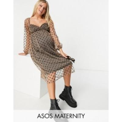 エイソス レディース ワンピース トップス ASOS DESIGN Maternity sweetheart midi dress in flocked dot Multi