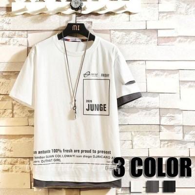 トップス Tシャツ メンズ 半袖 丸首 夏物 春物 メンズTシャツ カジュアルTシャツ メンズファッション 3色