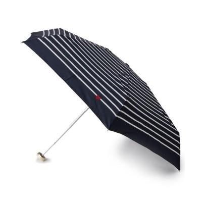 ITS' DEMO(イッツデモ) 細ボーダー&ハート刺しゅう晴雨兼用ミニ傘