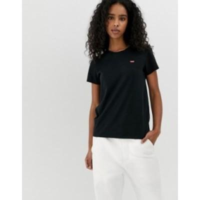 リーバイス レディース シャツ トップス Levi's perfect white t shirt with chest logo in black Mineral black