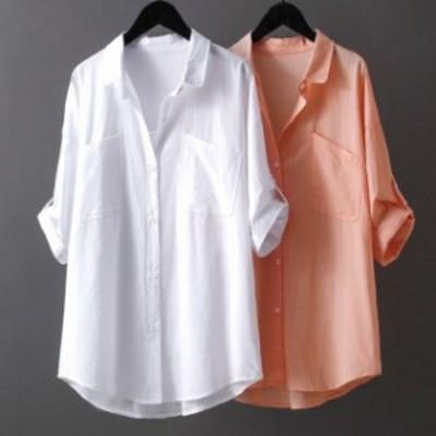 送料無料 シャツ ブラウス トップス 無地 半袖 シンプル おしゃれ レディース ゆったり 薄手 春 夏 羽織り