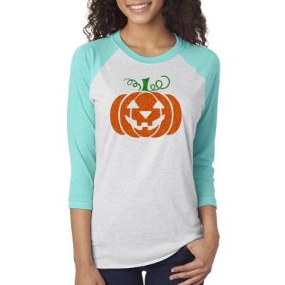 レディース 衣類 トップス Glitter Jack O' Lantern Pumpkin Womens Raglan Sleeve T-Shirt Tシャツ