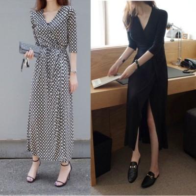 ドレス ロングドレス 大きいサイズ ワンピース マキシ丈 五分袖 袖あり チェック柄 ブラック スリム スリット エレガント