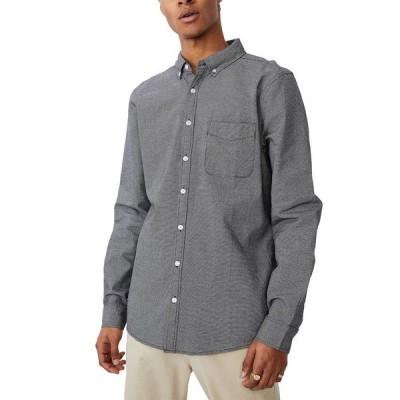 コットンオン メンズ シャツ トップス Brunswick Long Sleeve Shirt BLACK TEXTURE