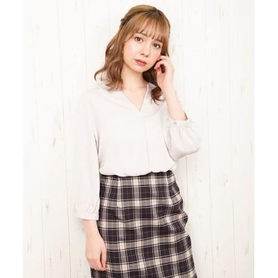 (INGNI/イング)裾タックトロミ7分袖ブラウス/レディース グレージュ