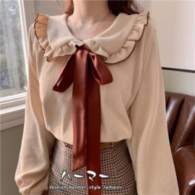 春 新作 レディース リボン トップス 大人 可愛い  シャツ 個性 透かし シャツ 復古 おしゃれ 気質 Lolitaロリ 二次元