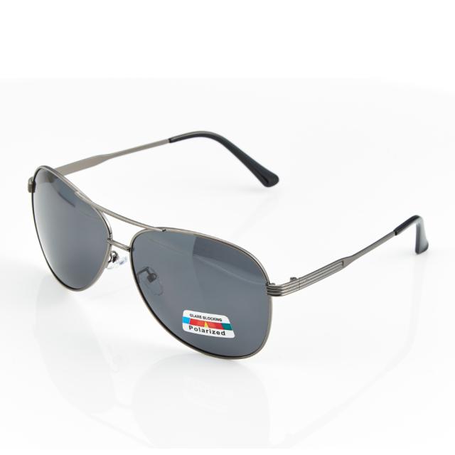 【Z-POLS】高質感頂級鋁鎂合金銀黑 輕量金屬Polarized寶麗來偏光抗UV400太陽眼鏡(名牌風格帥氣線條款)