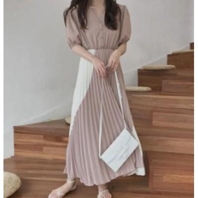 オルチャン 韓国 ファッション ワンピース ロング丈 プリーツ 切り替え Vネック フレア Aライン 半袖 ゆったり 無地 大人可愛い