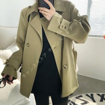 コート レディース ショート丈 ジャケット 長袖 ゆったり トレンチコート ショートコート 防風 カジュアル トレンチ コート おしゃれ アウター 春コート 可愛い