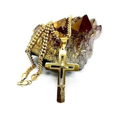 Hollywood Jewelry 十字架 信仰 ペンダント チェーンネックレス 18K 純金メッキ 宗教 十字架 キューバリンク レディース メンズ