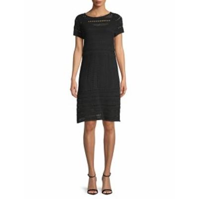 サックスフィフスアベニュー レディース ワンピース Short Sleeve Knit A-Line Dress