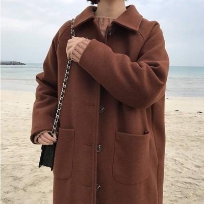 ロング コート ウール アウター ロングスリーブ 長袖 ポケット付き 大きいサイズ シンプル トレンド エレガント きれいめ 通勤 お出かけ デート 食事会