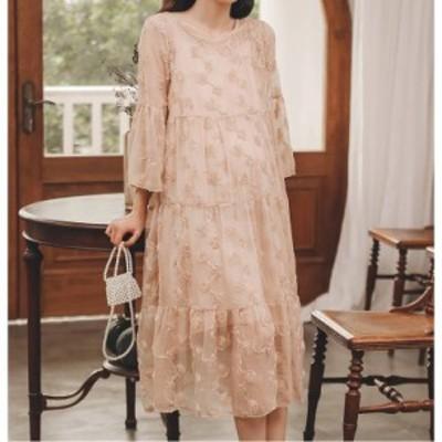 シフォンワンピース 2色 刺繍 シースルー ゆったり 大きいサイズ ラウンドネック 七分袖 ベルスリーブ 裾フリル ミモレ丈 Aライン 大人