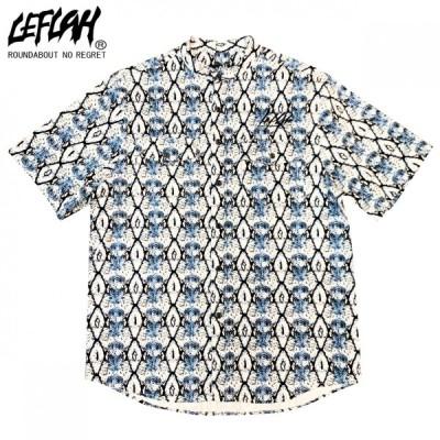 【20%OFF ¥9,450→¥7,560】【LEFLAH】snake no collar shirt(ブルー)