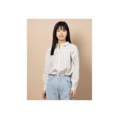 チーク Cheek 100/2ブロード無地・ストライプBIGシャツ (IVORY)