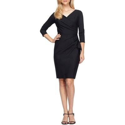 アレックスイブニングス レディース ワンピース トップス 3/4 Sleeve V-Neck Ruched Stretch Compression Sheath Dress