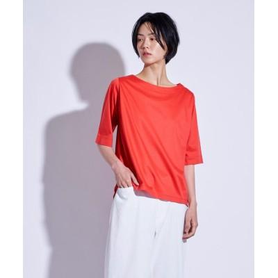 (la.f.../ラエフ)【大人のための上質Tシャツコレクション】ボートネックカットソー/レディース オレンジ