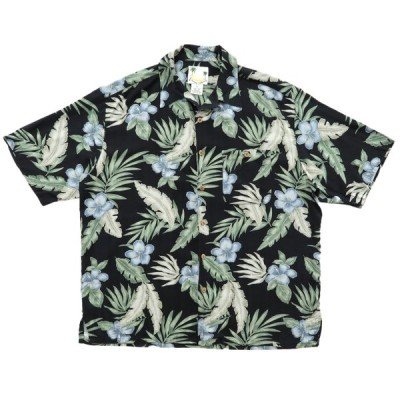 開襟 シルク アロハシャツ ハワイアンシャツ ブラックベース サイズ表記:XL