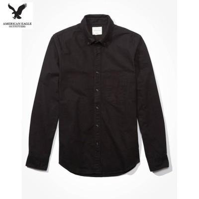 アメリカンイーグル メンズ ブラック 長袖シャツ オックスフォード スリムフィット