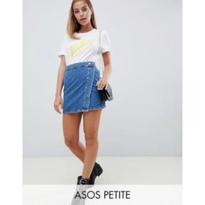 エイソス レディース スカート ボトムス ASOS DESIGN Petite denim wrap skirt in stonewash blue Blues