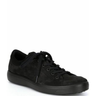 エコー メンズ スニーカー シューズ Men's Soft 7 2.0 Nubuck Leather Sneakers Black/Black/Black