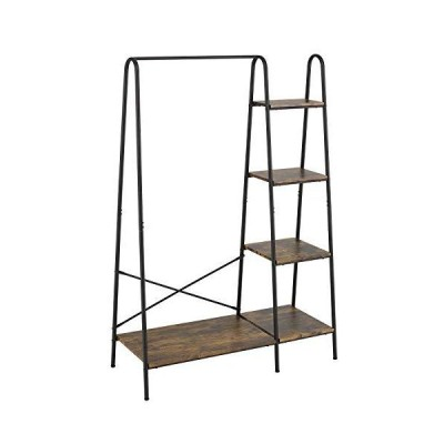Finnhomy メタル衣類ラック 4段木製収納棚付き 丈夫なアクセント家具 衣類/折りたたみ服/靴/装飾用 自立式